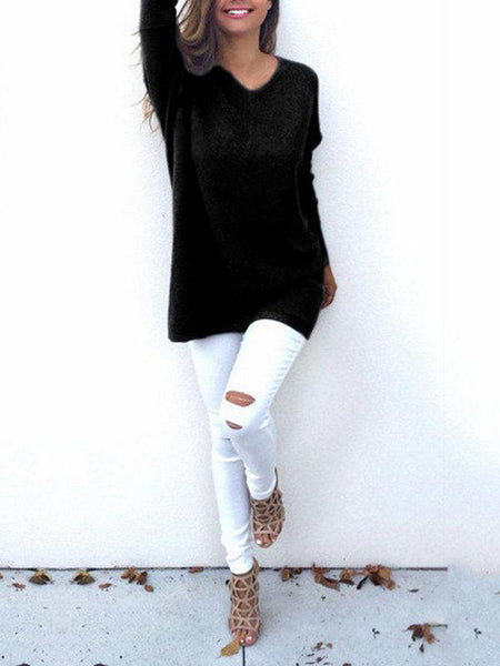 Sweater - Casual V Neck Long Sleeve Sweater
