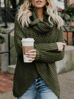 Sweater - Asymmetrical Slit Cowl Neck Knitted Sweater