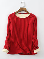 Cotton Solid Fleeced Long Sleeve Stretchy T-Shirts