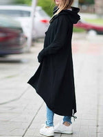 Hooded Long Sleeve Zip-up Asymmetric Hem Long Hoodie Coat Jacket Outwear S-5XL