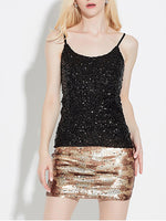 Women's Shimmer Glam Sequin Embellished Sparkle Vest