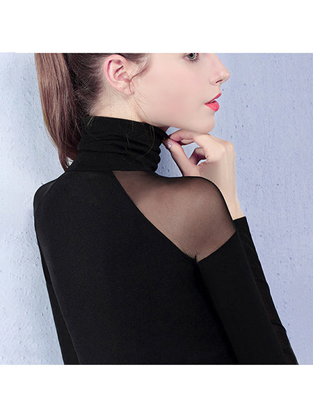 Fashion High Collar Pure Colour Long Sleeve Shirt