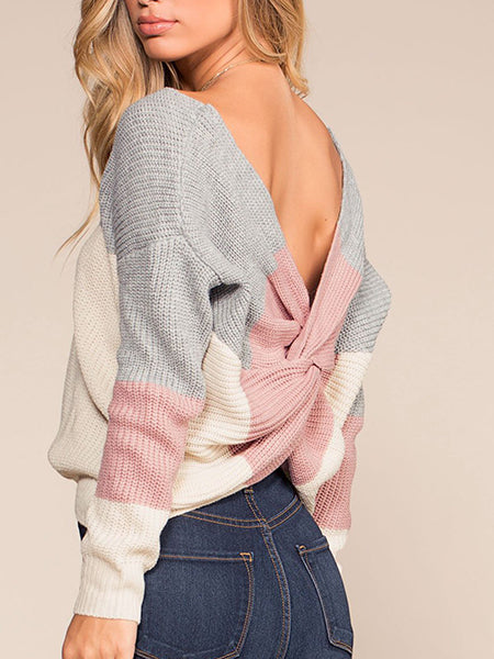 Color-Block Backless Sexy Sweaters