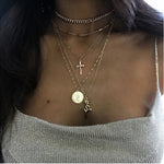 Cross Rose Multi-Layer Necklace Combination