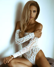Load image into Gallery viewer, Crochet Lace Long Sleeve Teddy Bodysuit