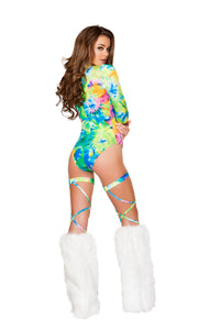Leg Wraps with Attached Garter Belt - Tie Dye