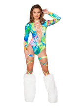 Load image into Gallery viewer, Leg Wraps with Attached Garter Belt - Tie Dye
