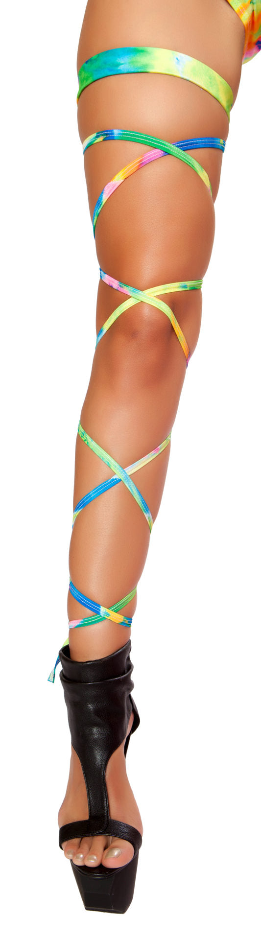 rainbow rave leg wraps with attached garter belt on a leg with platform heels