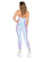 Load image into Gallery viewer, 3802 - 1pc Haltered Catsuit with Mesh and Sequin Detail