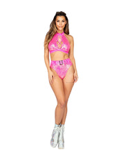 Load image into Gallery viewer, 3806 - 1pc Sequin High Waisted Short with Shimmer Belt Detail