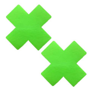 neon green cross x pasties