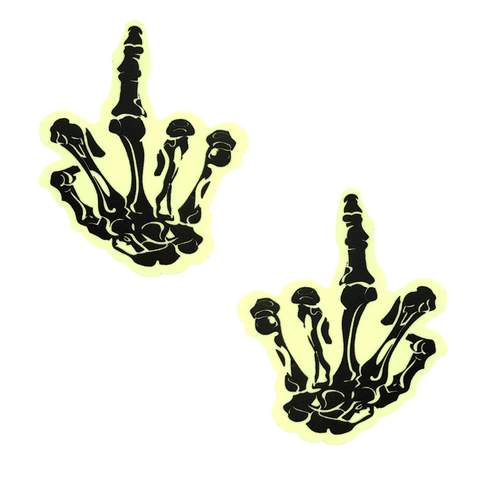 Fuck You Glow In The Dark Skeleton Hand Nipztix Pasties
