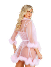 Load image into Gallery viewer, Pastel Sheer Marabou Robe in Purple & Pink