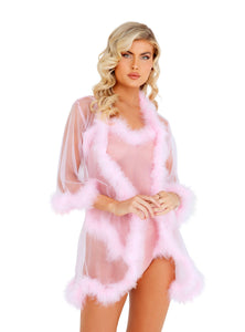 Pastel Sheer Marabou Robe in Purple & Pink