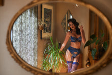 Load image into Gallery viewer, Navy Blue Embroidery Lace Garters & Satin Bra Set