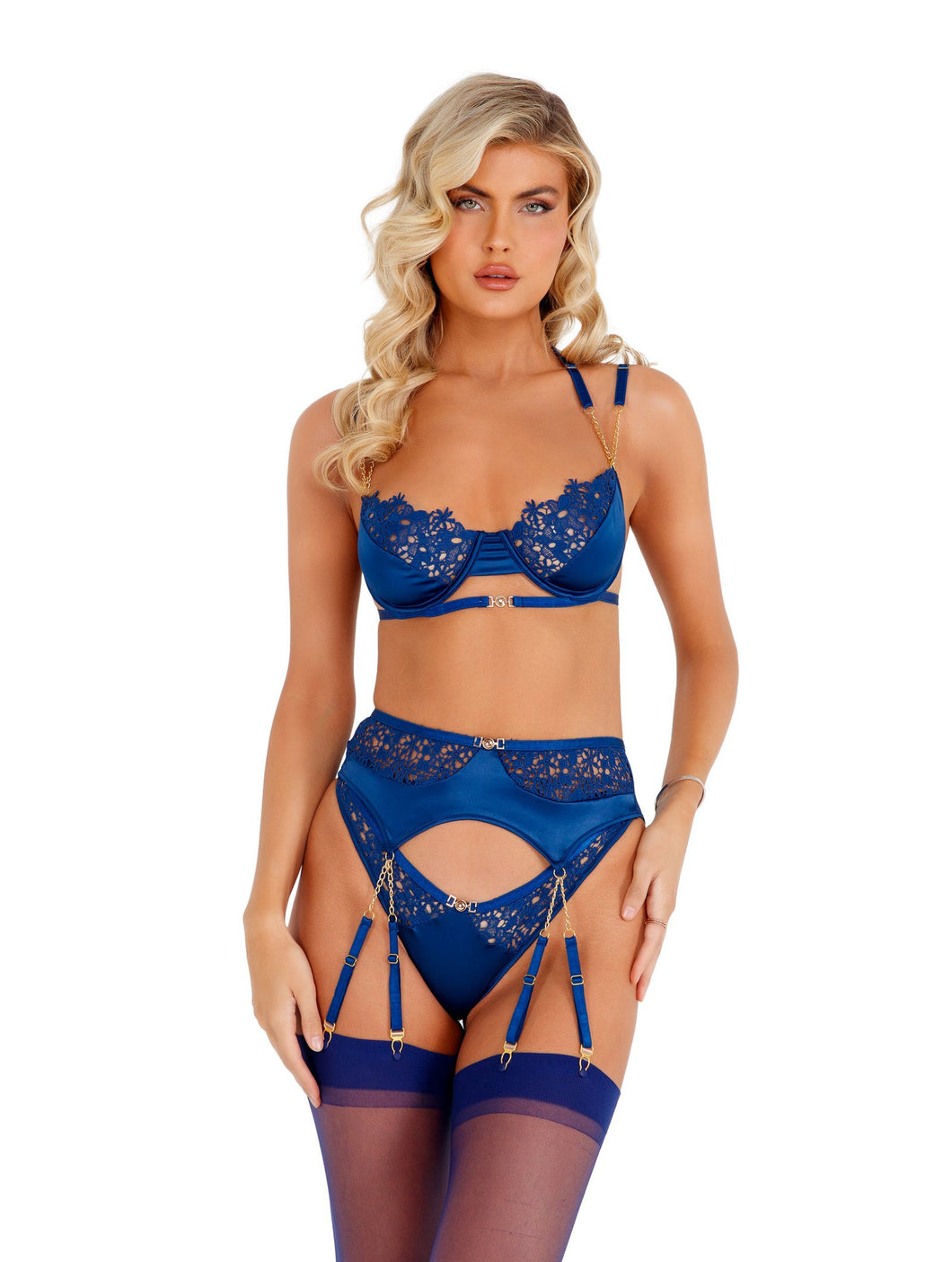Navy Blue Embroidery Lace Garters & Satin Bra Set