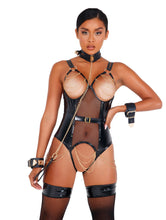 Load image into Gallery viewer, Vinyl Bodysuit with Chain Details