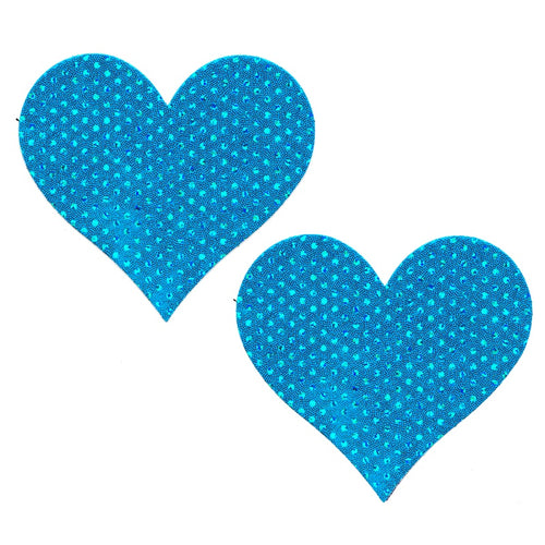 Blue Sparkles Heart Pasties - XL