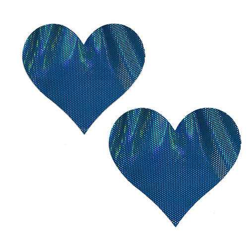 Blue Foil Heart Pasties - XL