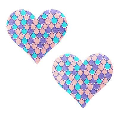 Mermaid Scales Massive Heart Pasties - XL