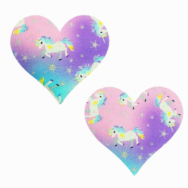 Rainbow Unicorn Massive Heart Pasties - XL