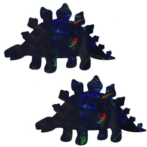 Black Holographic Foil Dinosaur Pasties - XL
