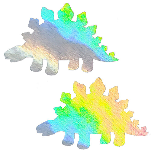 Silver Holographic Foil Dinosaur Pasties - XL