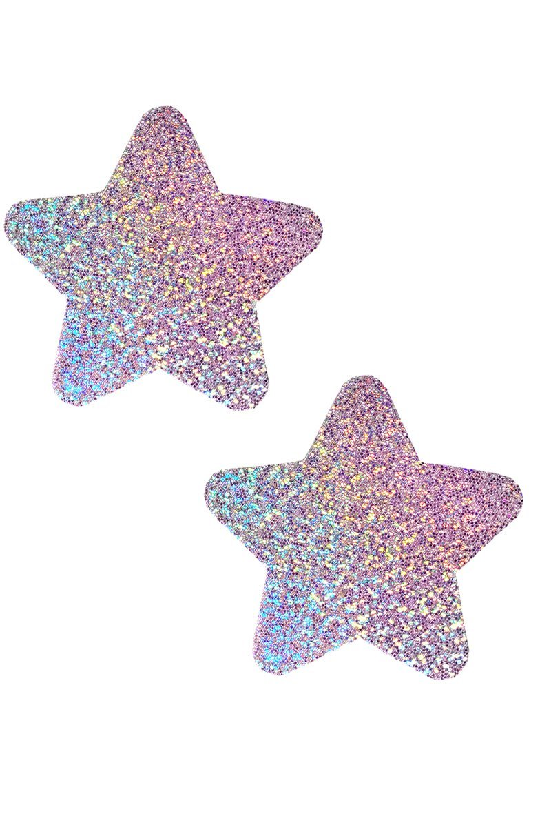 Star Pasties in Lavender Hologram