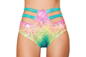 Specter Rainbow High-Waisted Hologram Strapped Shorts