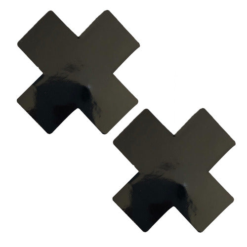 black vinyl wet look cross x pasties
