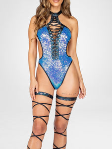 Stretchy sequin fabric that laces up the front with faux leather detailing, and the laces continue up to the throat into a choker necklace. The side cuts out a little into the stomach area for a little flirt, the bottoms are bikini style with high hips, the the neck is halter style, and the back closes with a hook.