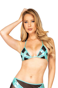 Cross and Mesh Triangle Bikini Top