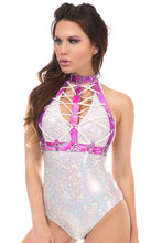 Load image into Gallery viewer, A lady wearing a festival bodysuit in white with a dark pink holographic lace up chest harness with white front lacings.