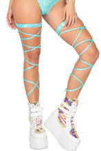 Load image into Gallery viewer, light green Gartered Shimmer Leg Wraps Straps