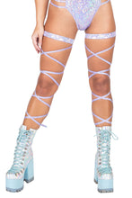 Load image into Gallery viewer, Lavender Gartered Shimmer Leg Wraps Straps