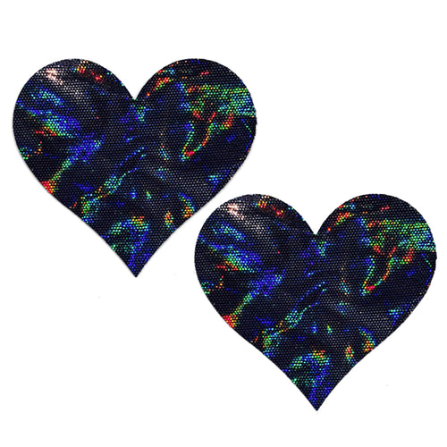 black pasties holographic heart extra large