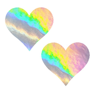 Silver Holographic Massive Heart Pasties - XL