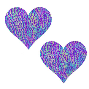 Purple Snakeskin Heart Pasties - XL