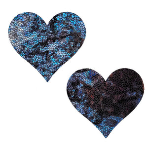Heart Pasties Black Snakeskin - XL