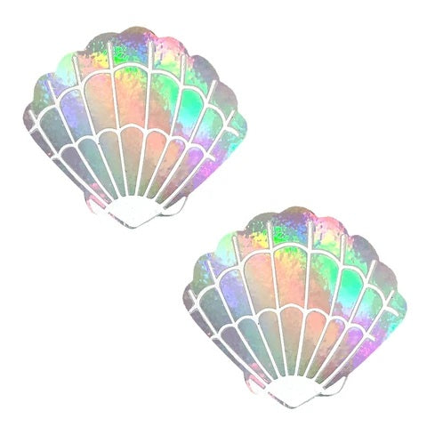 silver holographic mermaid pasties with white shell details