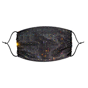 Sparkle Jewel Mesh Glitter Face Masks With Adjustable Ear Loops for Raves and Festivals - Black Rhinestones