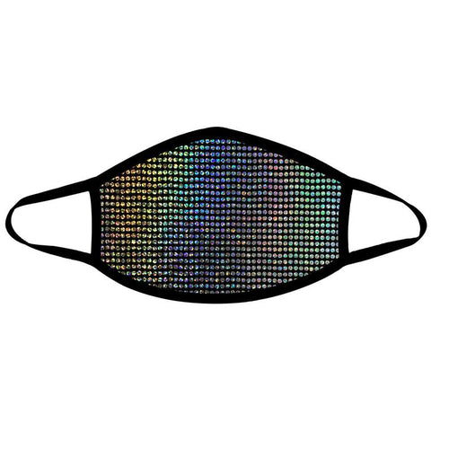 Disco Robot Super Holographic Black Face Mask For Festivals and Raves, Breathable, Reusable, Cotton Liner