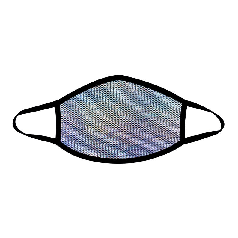 Party Holographic Black Face Mask For Festivals and Raves, Breathable, Reusable, Cotton Liner