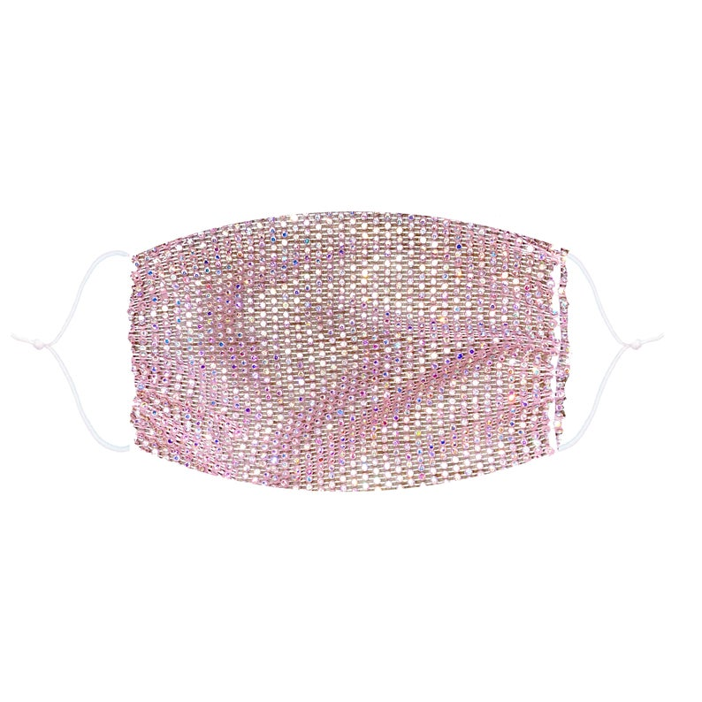 Sparkle Jewel Mesh Glitter Face Masks With Adjustable Ear Loops for Raves and Festivals - Solid Colors