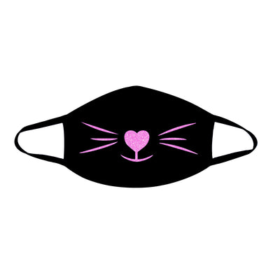 MEOW-ZA Blacklight UV Pink Glitter Black Face Mask