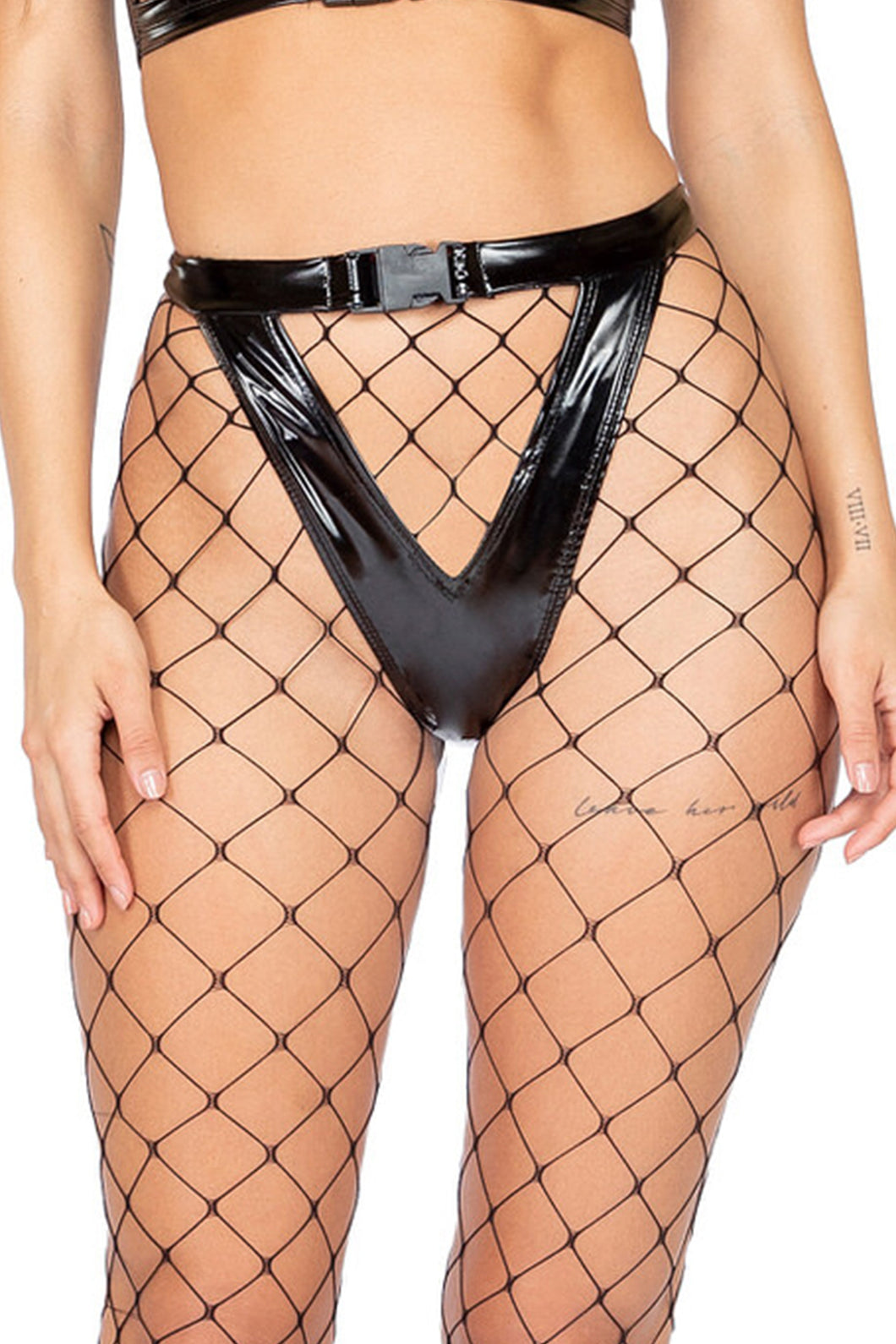 high cut buckled black latex cheeky shorts