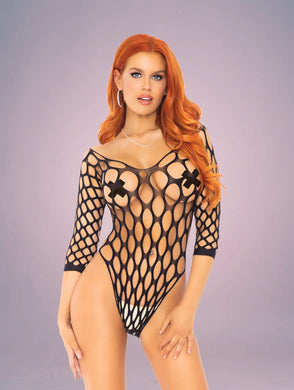 Wide Net 3/4th Sleeve Bodysuit