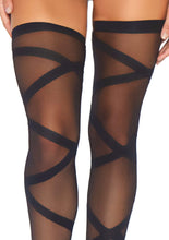 Load image into Gallery viewer, Lita Black Criss Cross Bodysuit & Thigh Highs