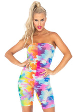 Load image into Gallery viewer, Rainbow Mesh Camo Strapless Romper