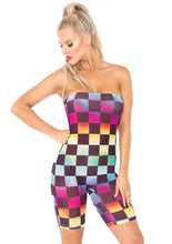 Load image into Gallery viewer, Rainbow Mesh Checkered Strapless Romper Bodysuit